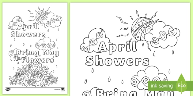April Showers Bring May Flowers Mindfulness Colouring Page