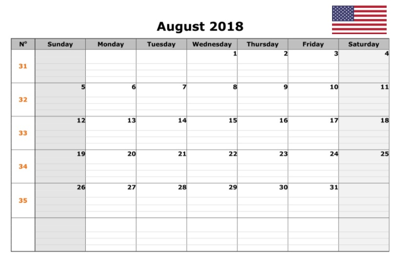 August 2018 USA Holidays Calendar