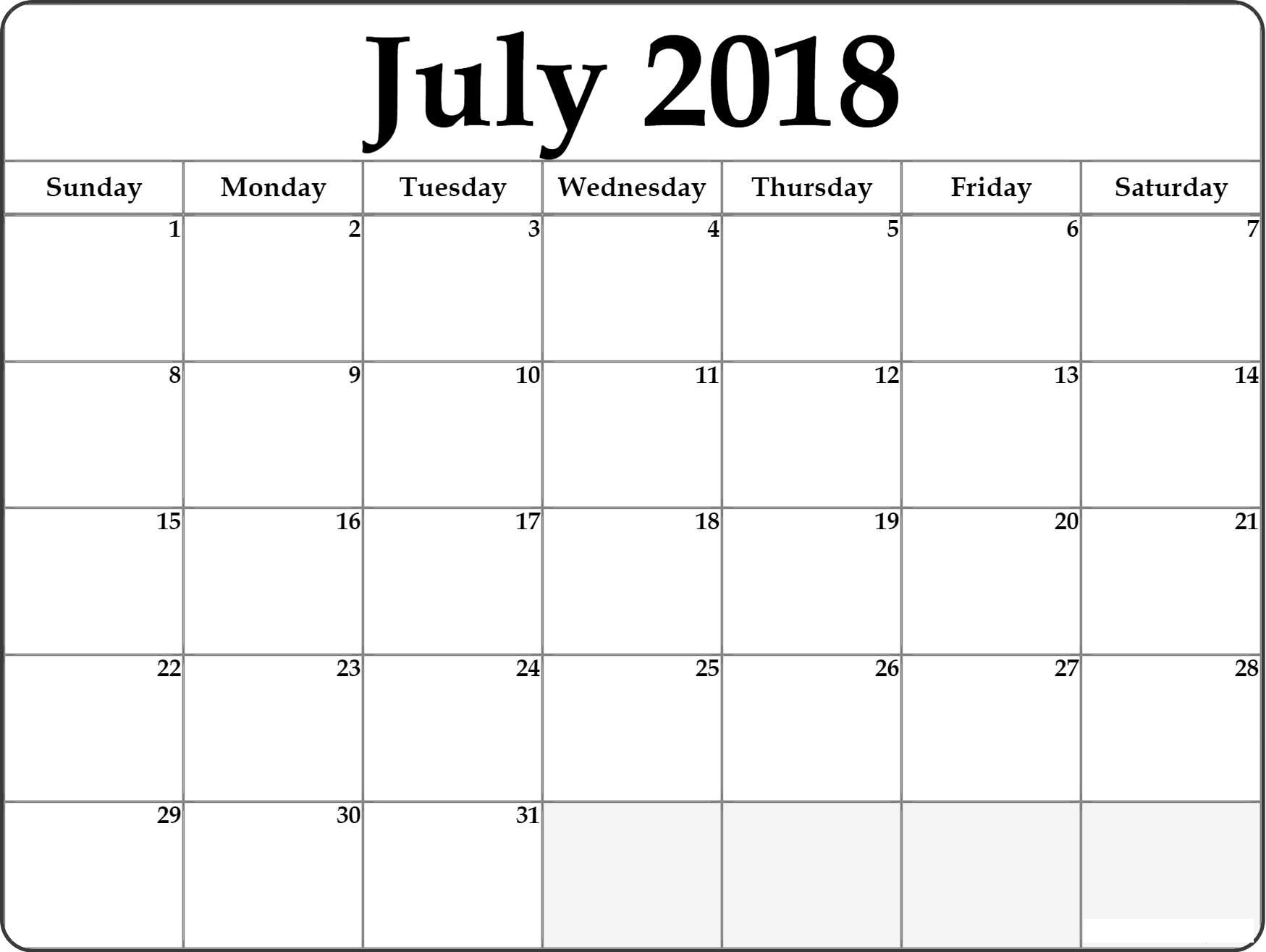 Blank 2018 July Monthly Calendar