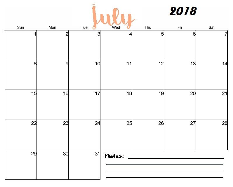 Blank Calendar 2018 July