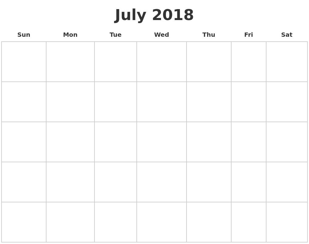 Blank Calendar For 2018 July