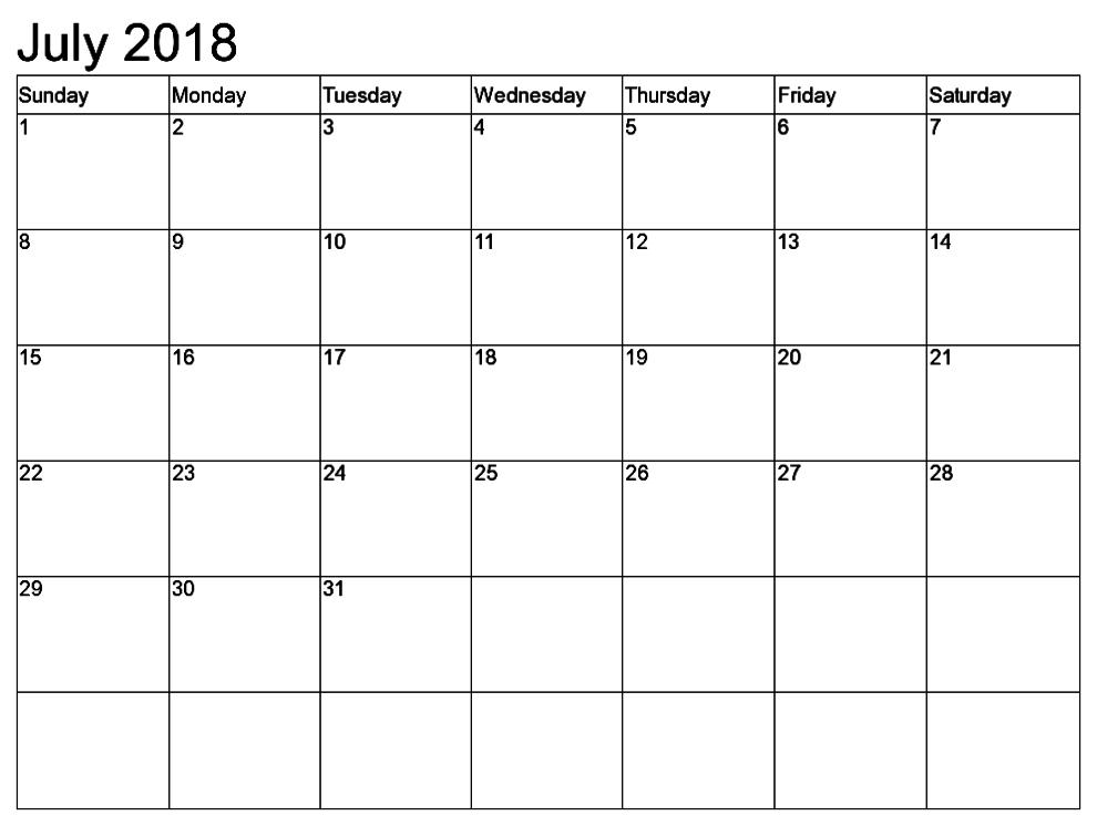 Blank Calendar July 2018 Template