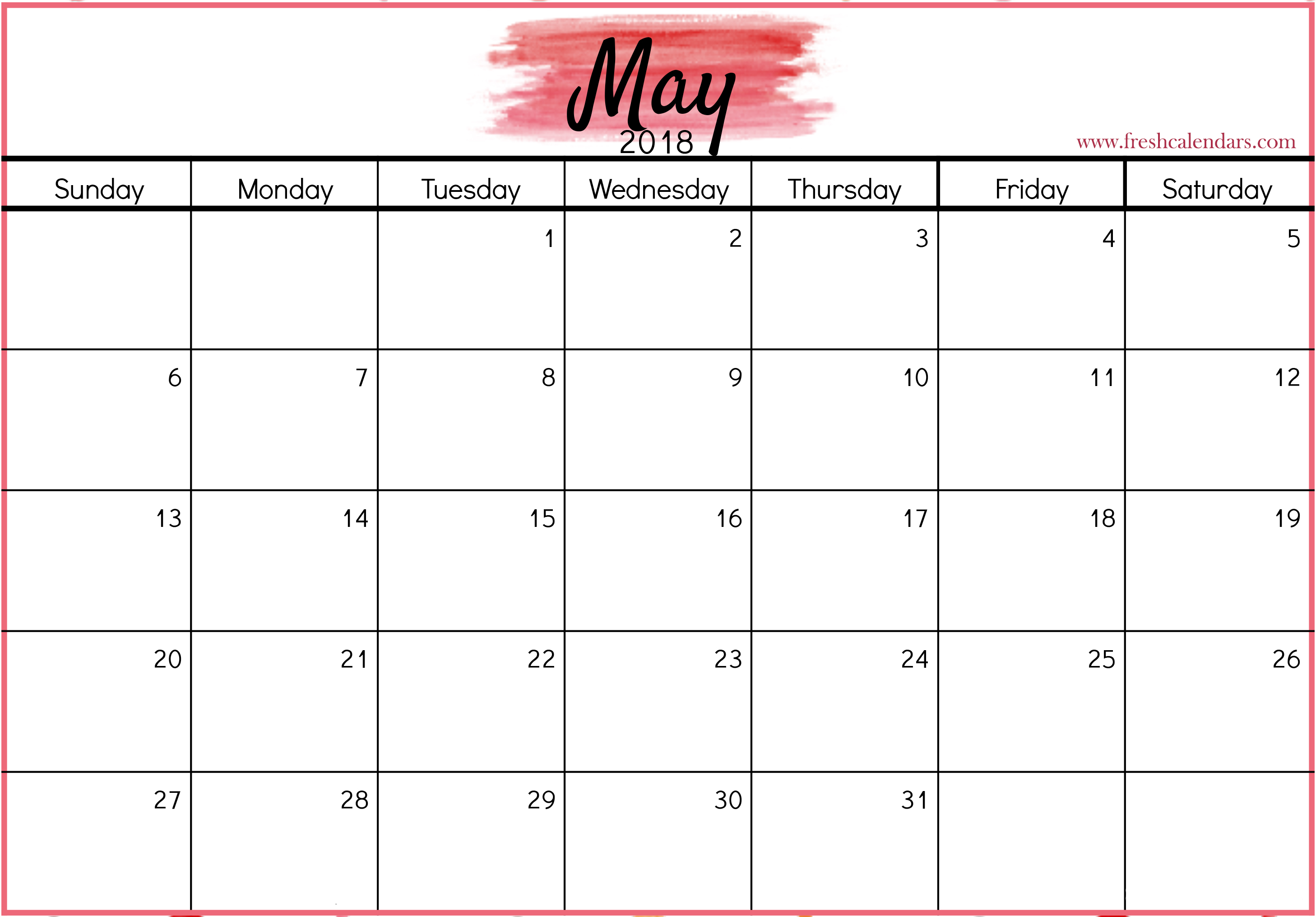 Blank Calendar May 2018 Template