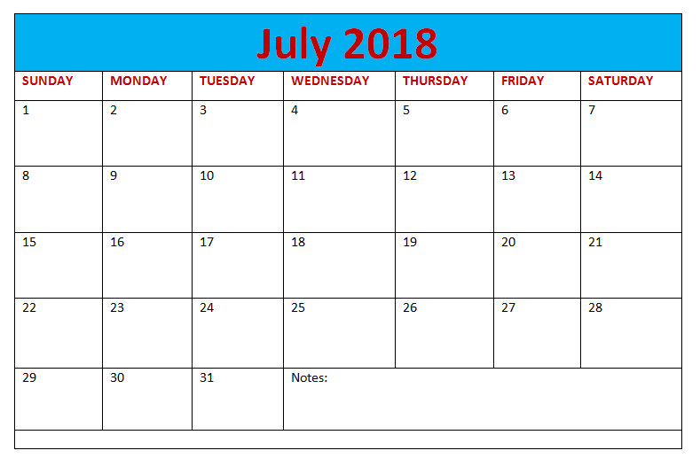 Blank Calendar With Notes July 2018