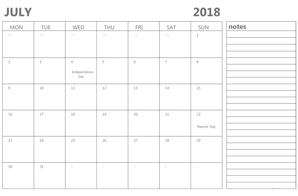 Blank July 2018 Calendar With Notes