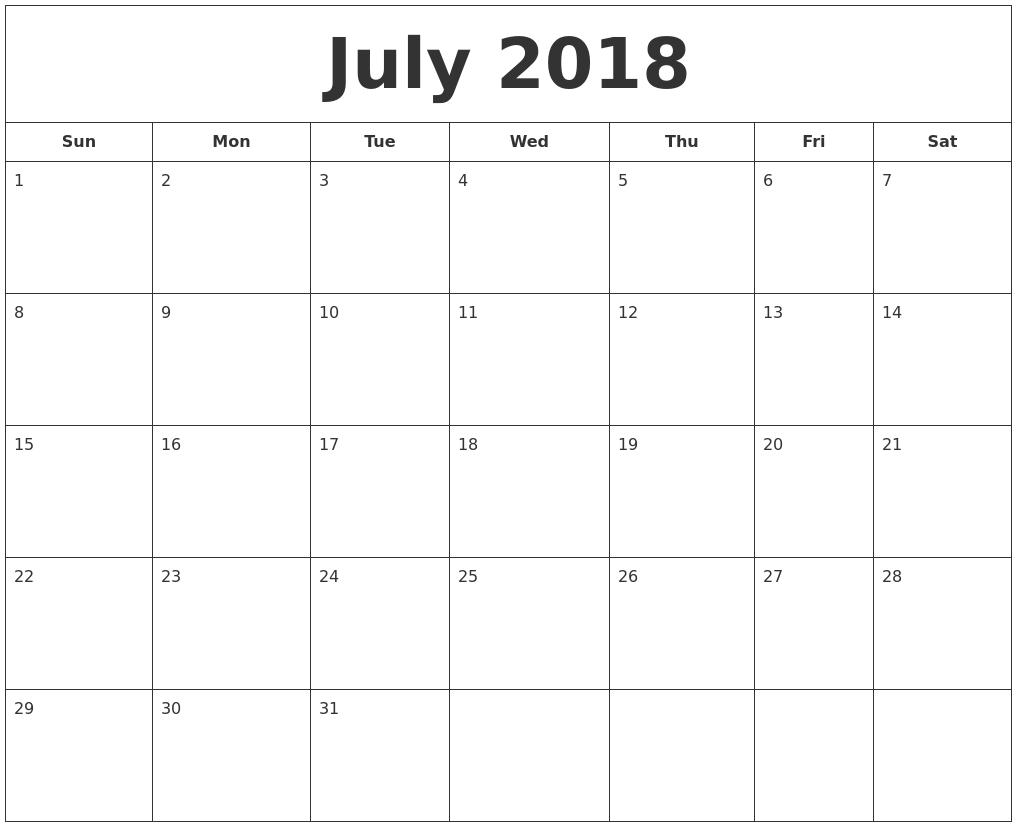 Blank July Calendar 2018 Online