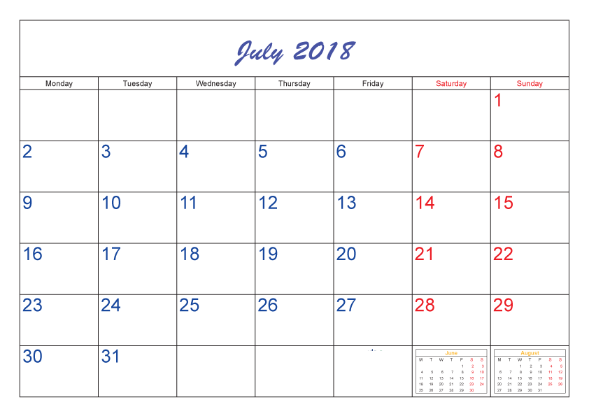 Blank July Calendar 2018 Template