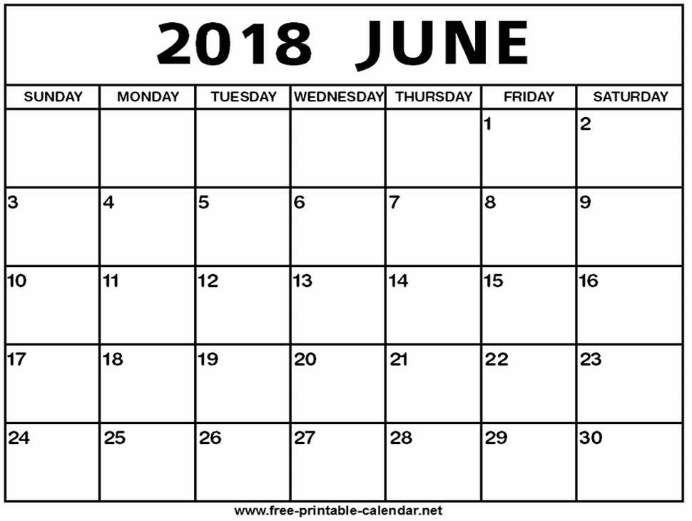 Blank June 2018 Calendar Document