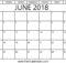 Blank June 2018 Calendar PDF
