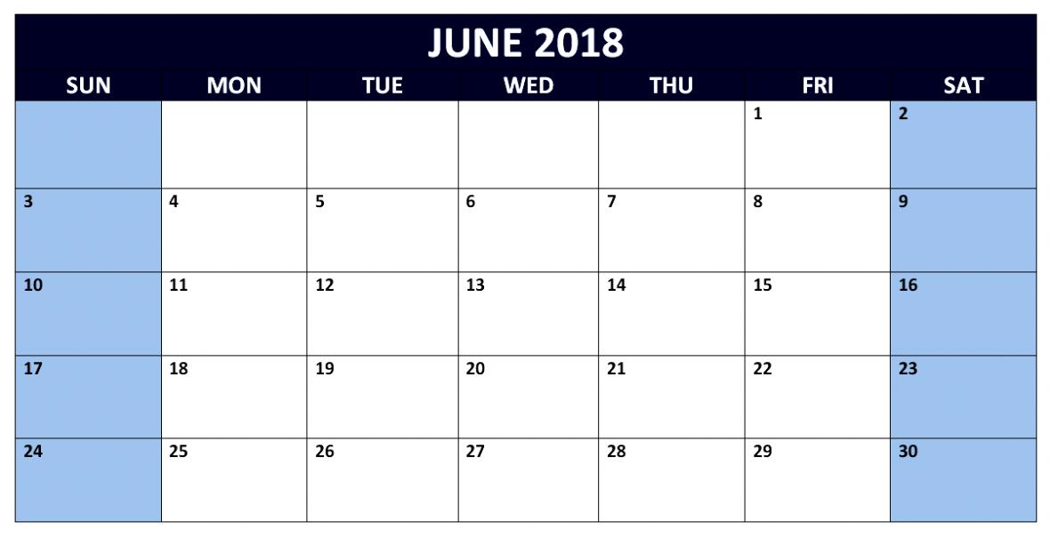 Blank June 2018 Calendar USA