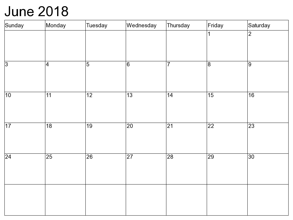 Blank June 2018 Document Calendar