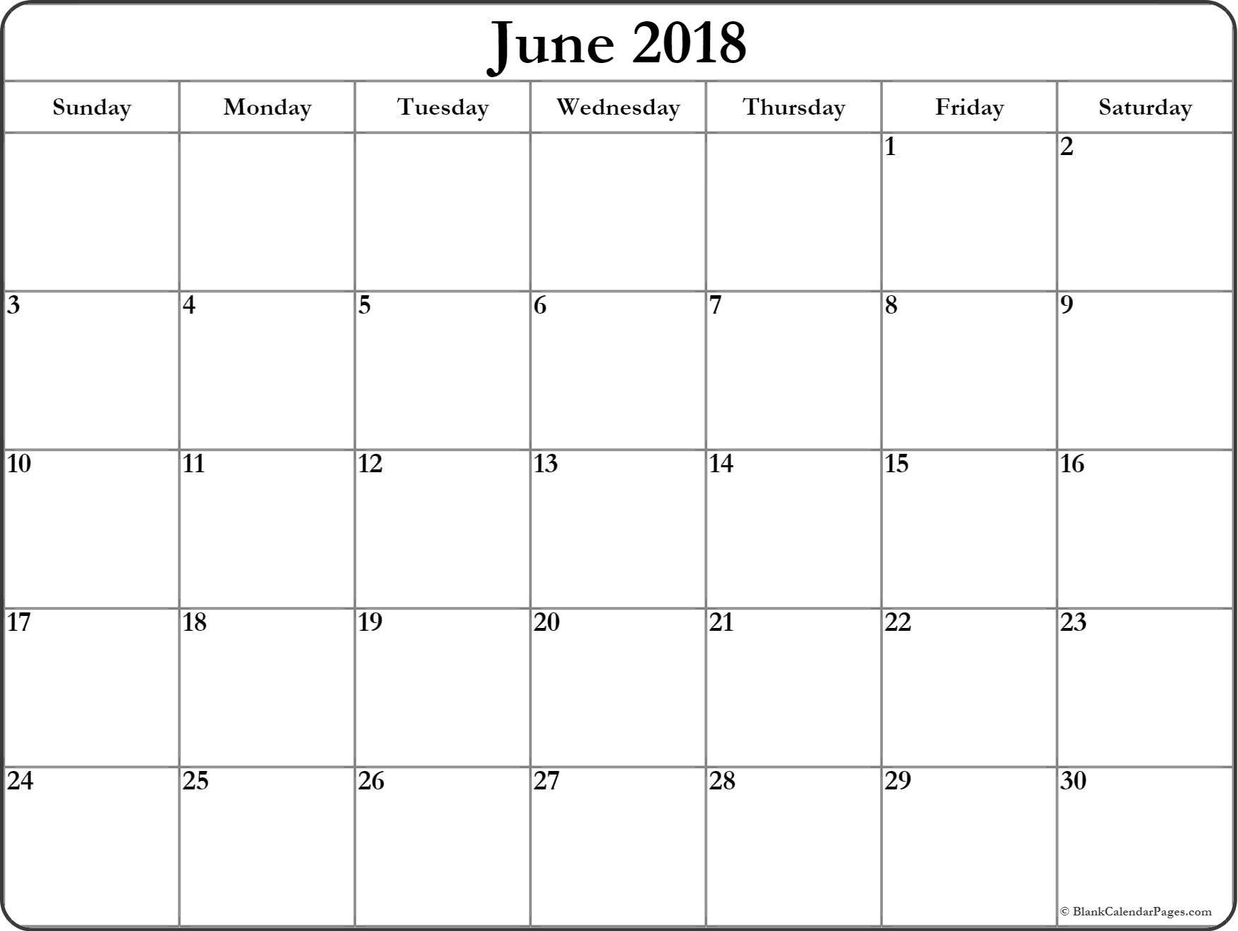 Blank June 2018 Printable Calendar