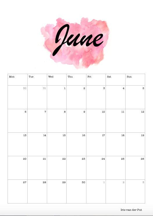 Blank June Calendar 2018 Cute
