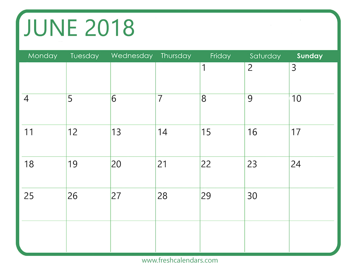 Blank June Monthly Calendar 2018
