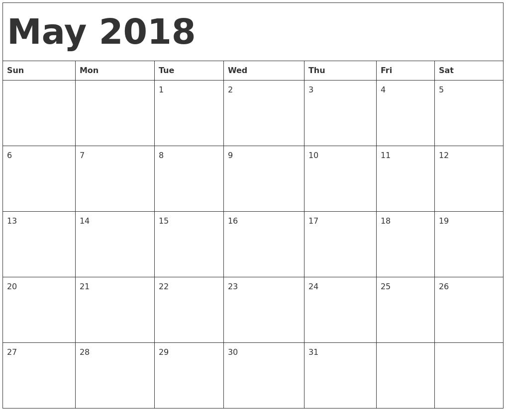 Blank May 2018 Calendar Singapore