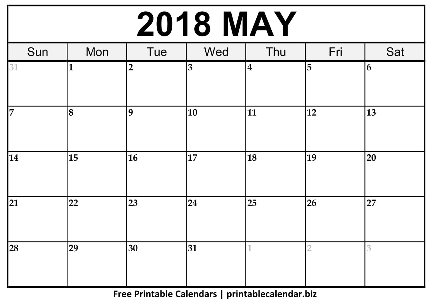 Blank May 2018 Calendar Vertical