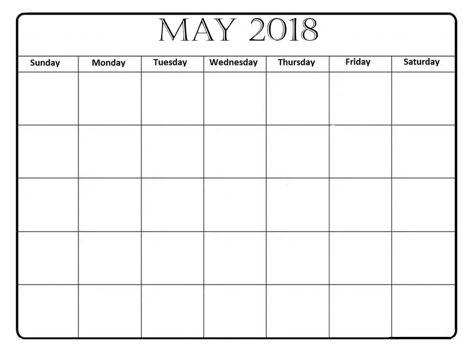 Blank May 2018 Weekly Calendar PDF