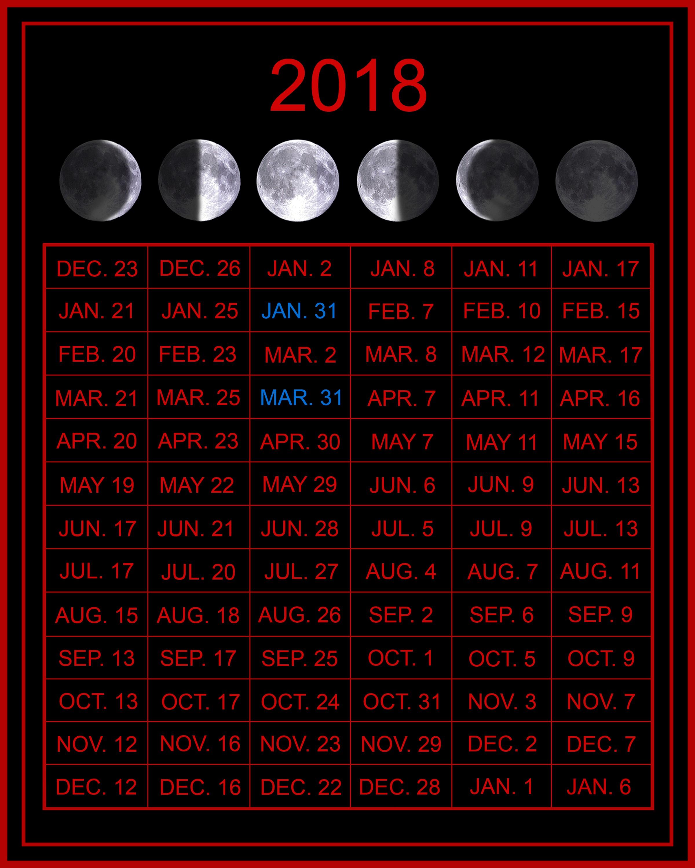 Blank May Moon 2018 Calendar