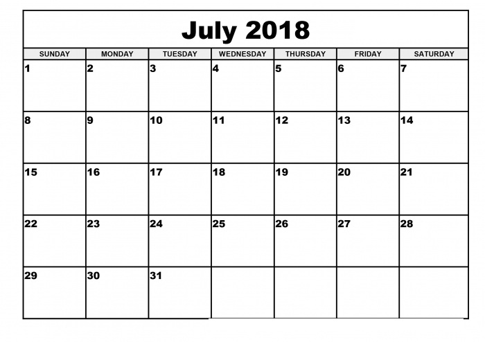 Blank Monthly Calendar July 2018 PDF