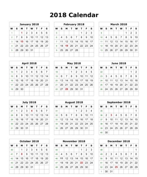 Calendar 2018 Blank Printable One Page