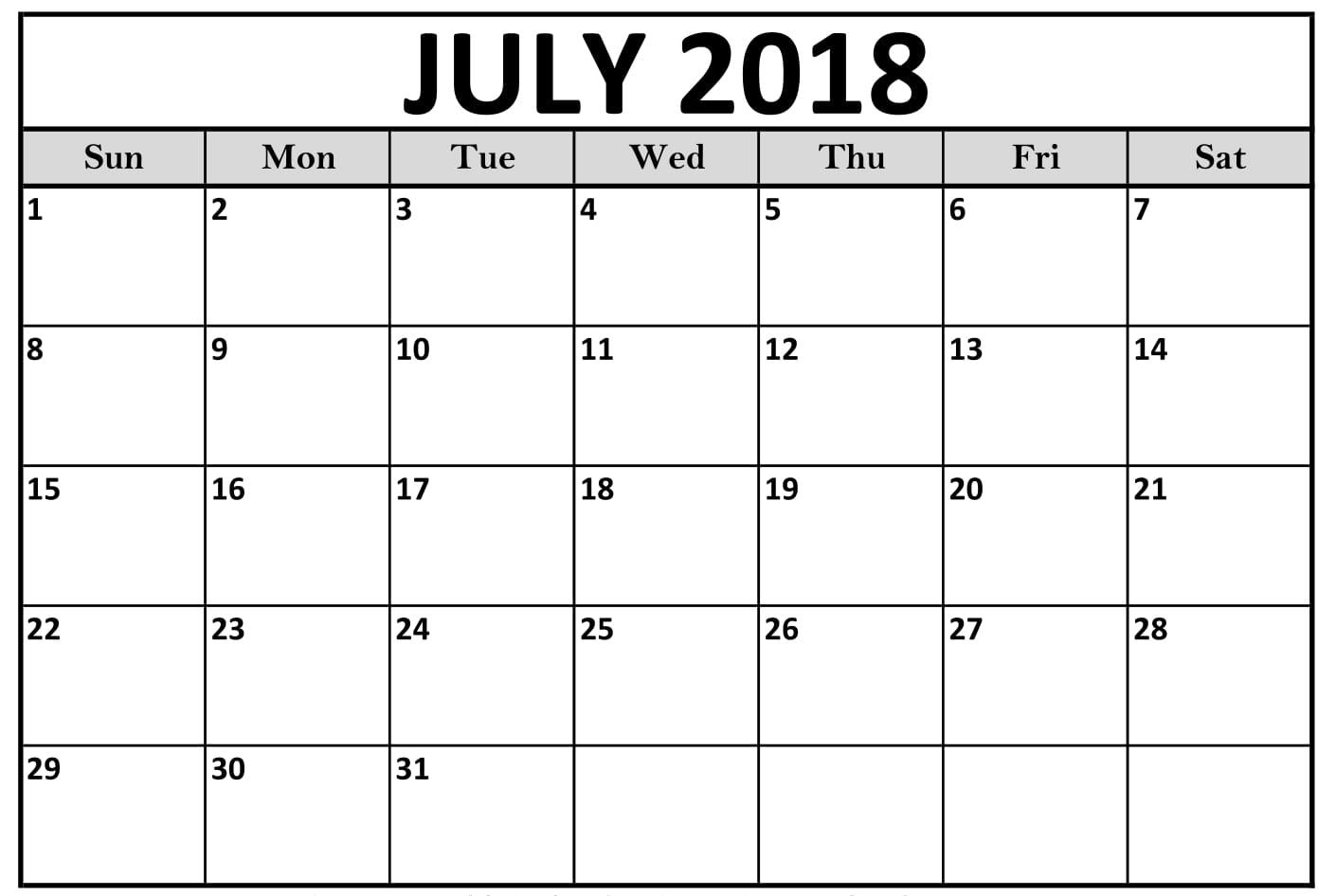 Calendar 2018 July Month