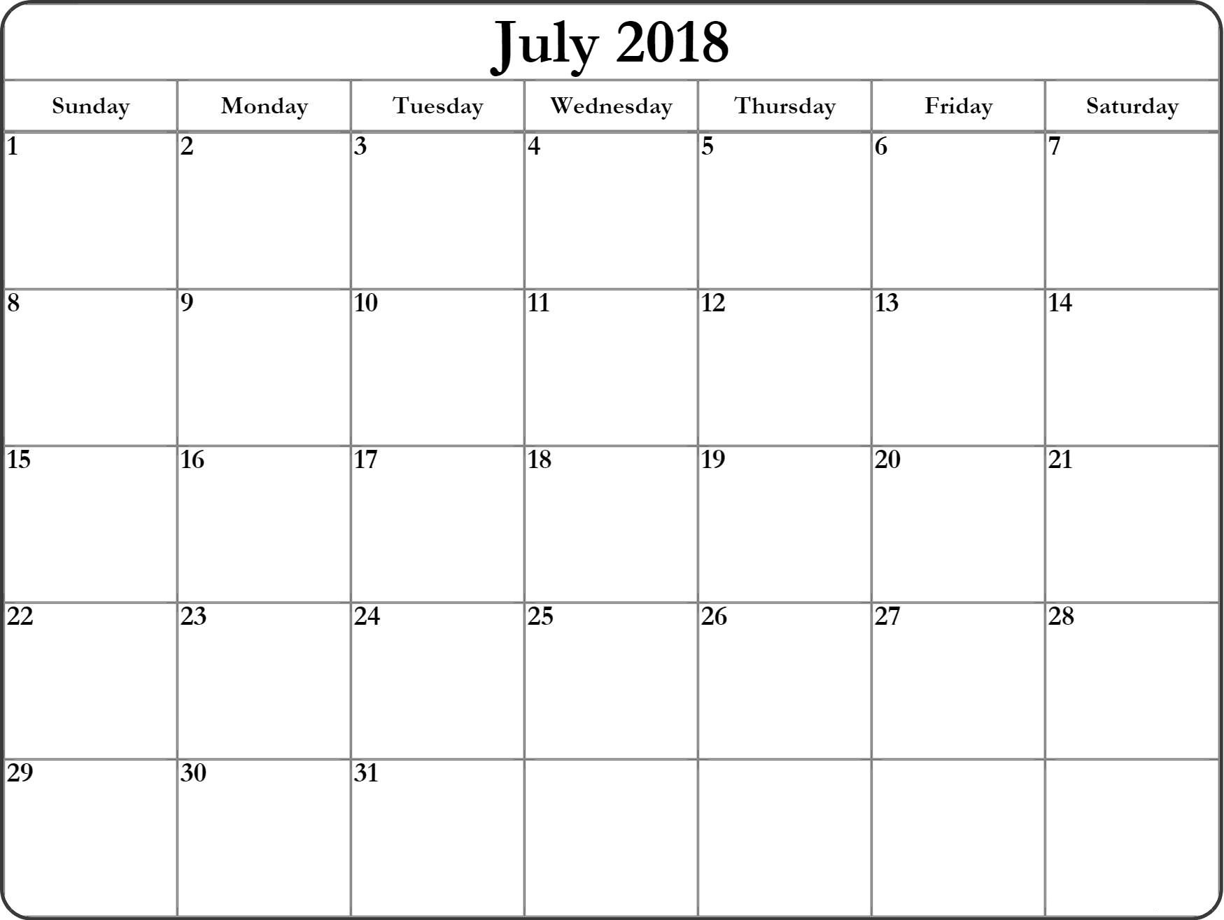 Calendar 2018 July Printable