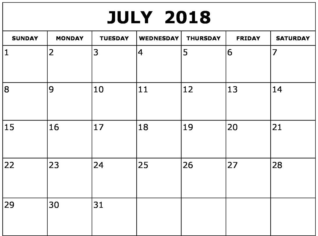 Calendar 2018 July Template