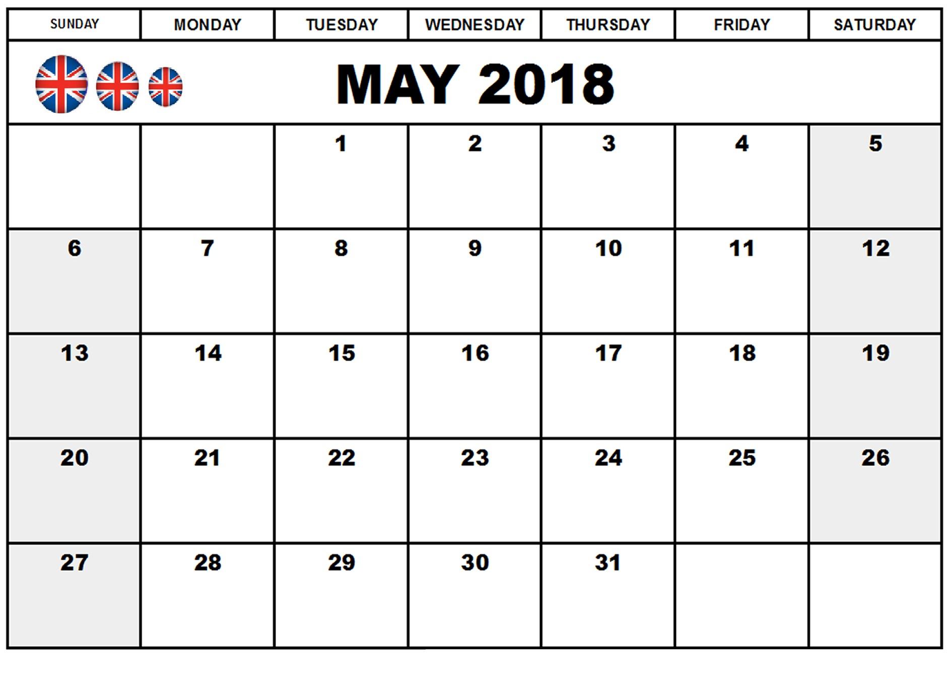 Calendar 2018 May UK