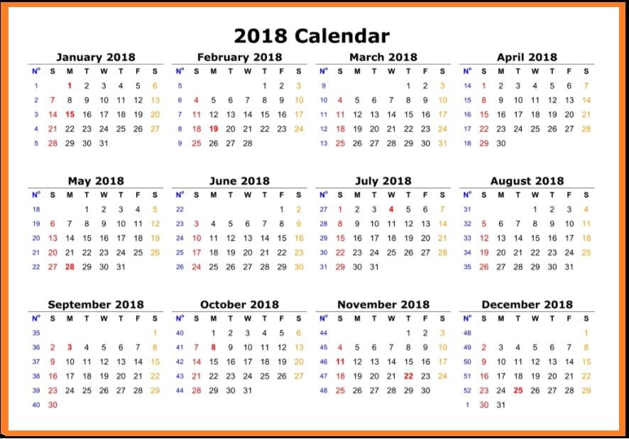 Calendar 2018 Printable One Page