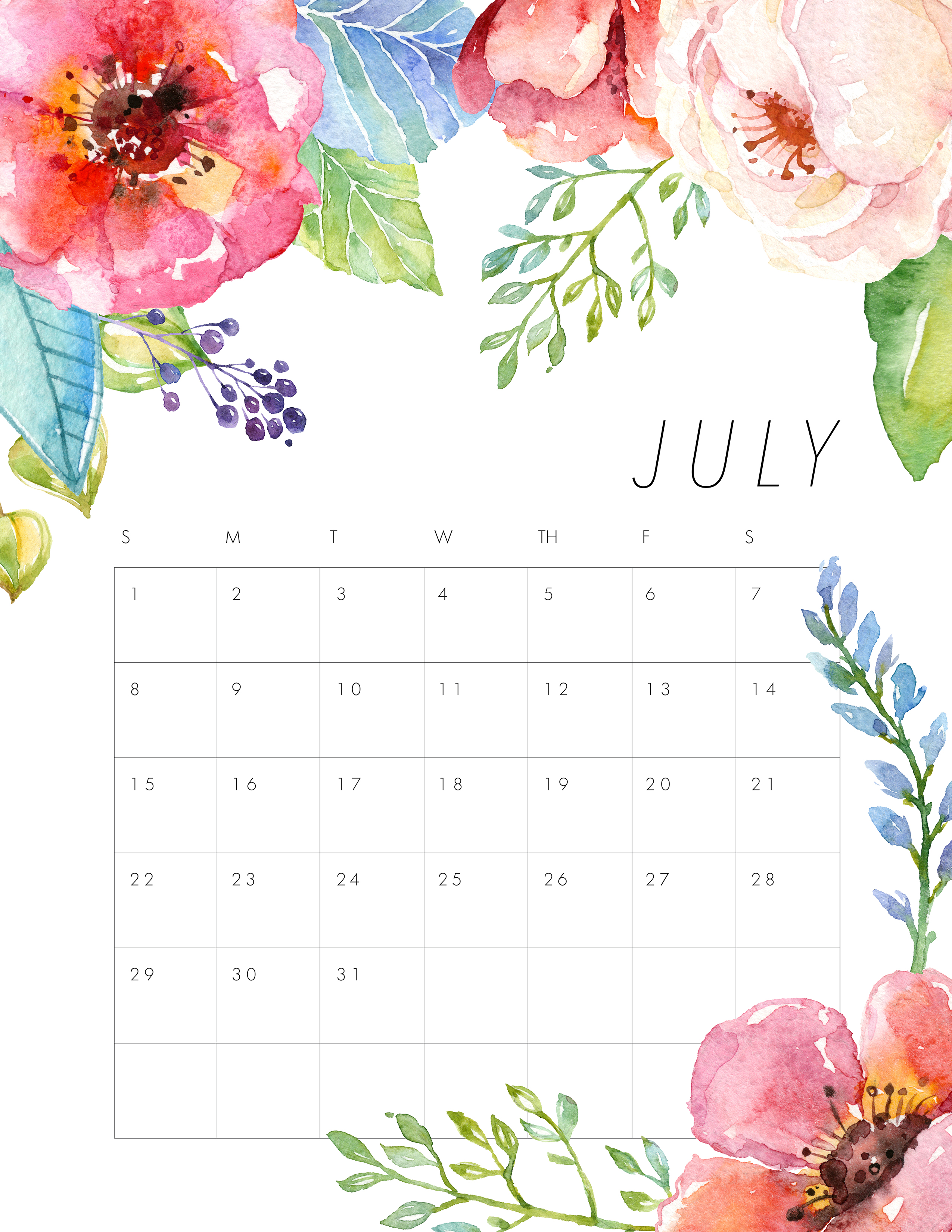 Calendar July 2018 Month