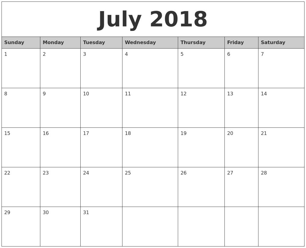 Calendar July 2018 Printable