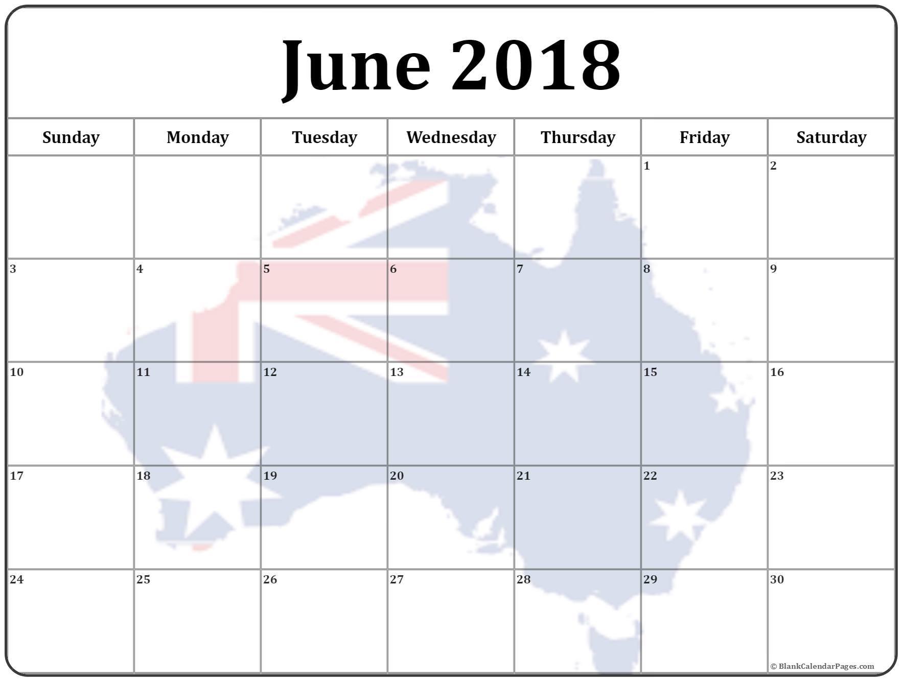 Calendar June 2018 Australia