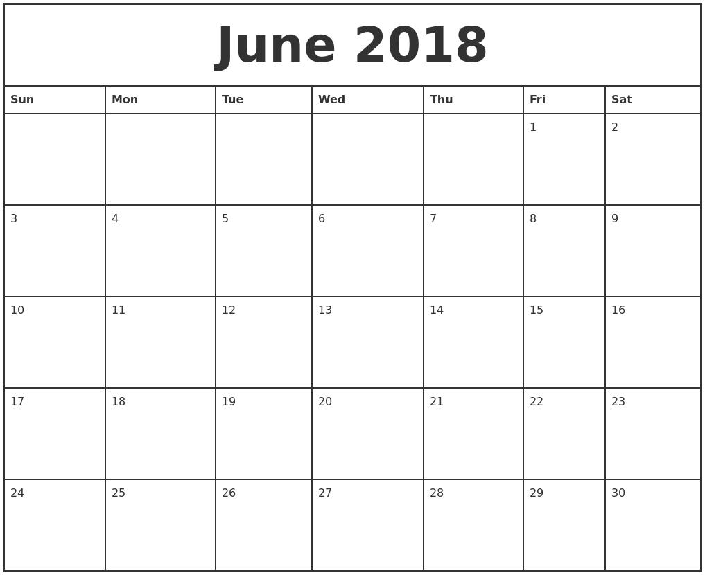 Calendar June 2018 Canada