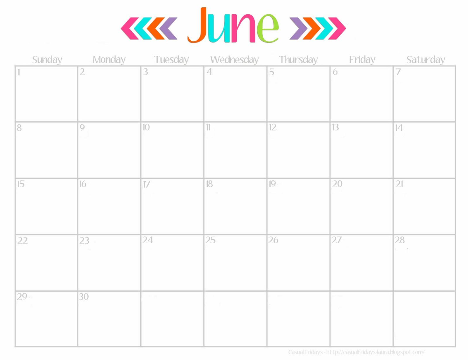 Calendar June 2018 Cute