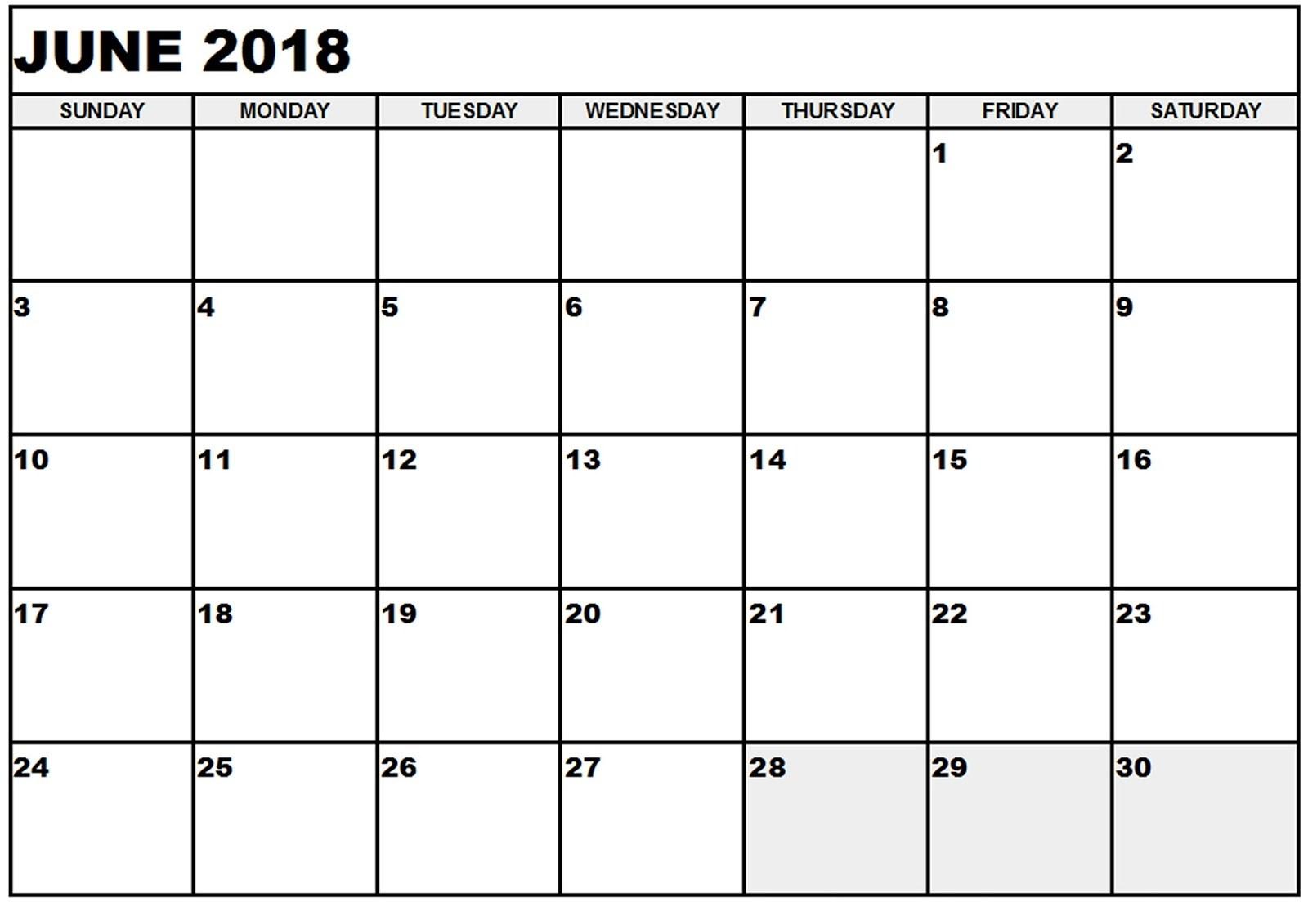 Calendar June 2018 Excel