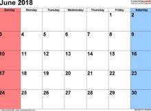 Calendar June 2018 with Holidays