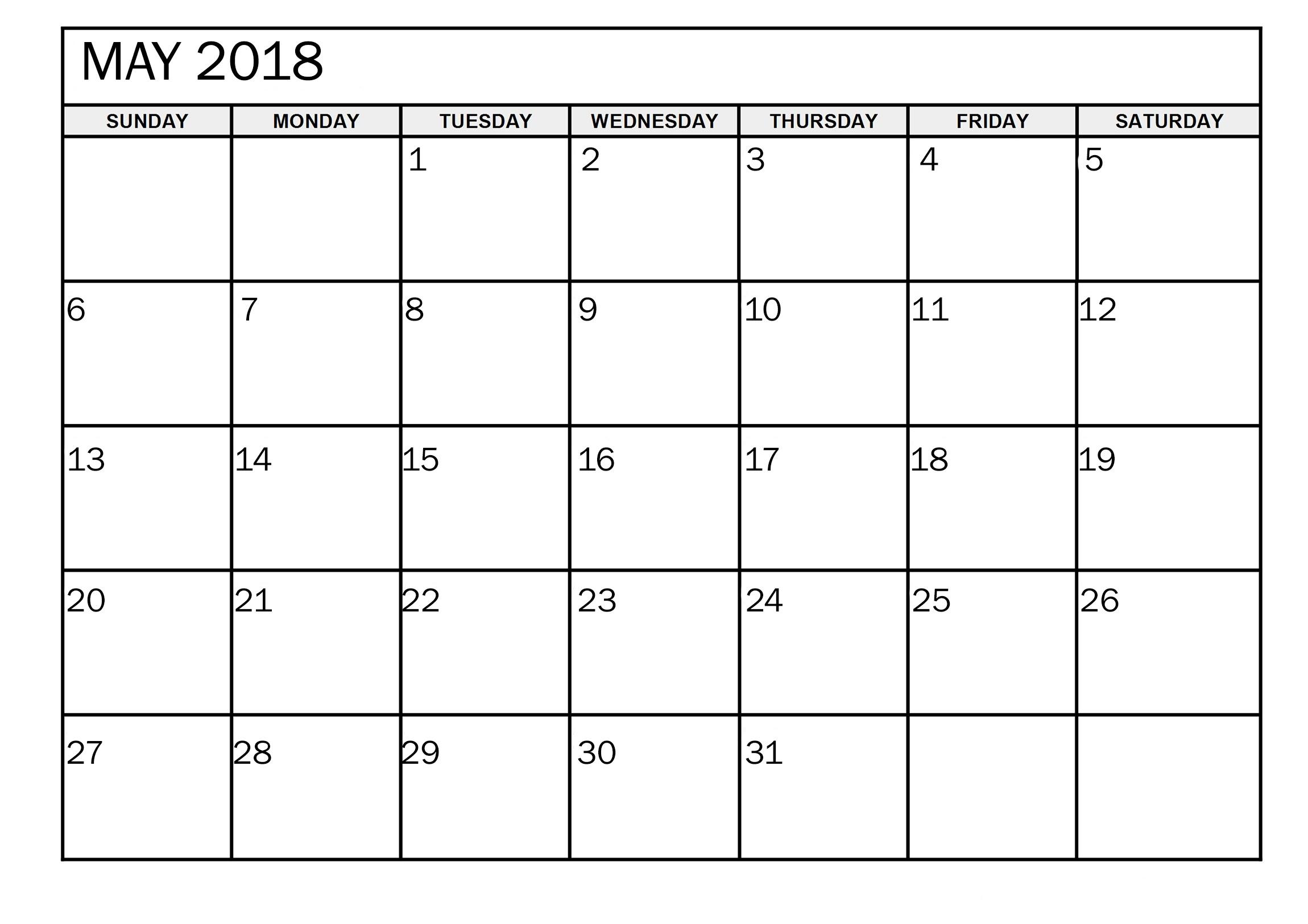 Calendar May 2018 Cute