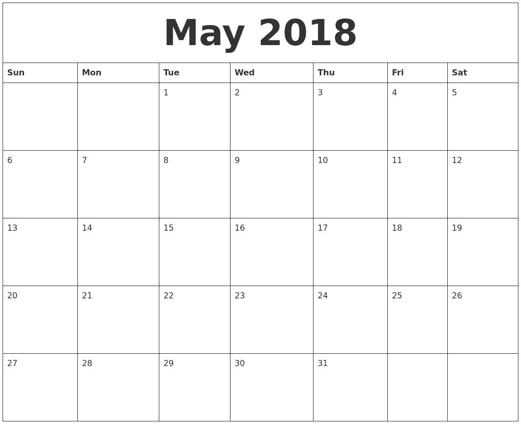 Calendar May 2018 Excel