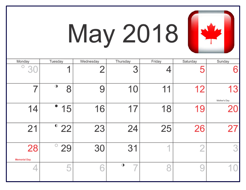 Calendar May 2018 Holidays Canada