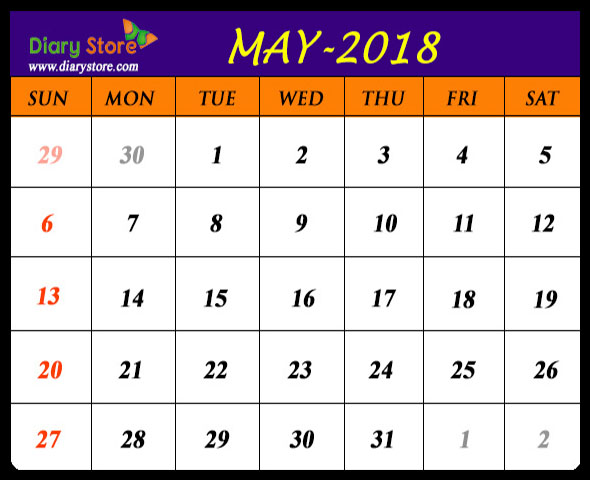 Calendar May 2018 Holidays