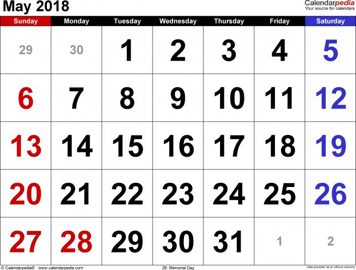 Calendar May 2018 India
