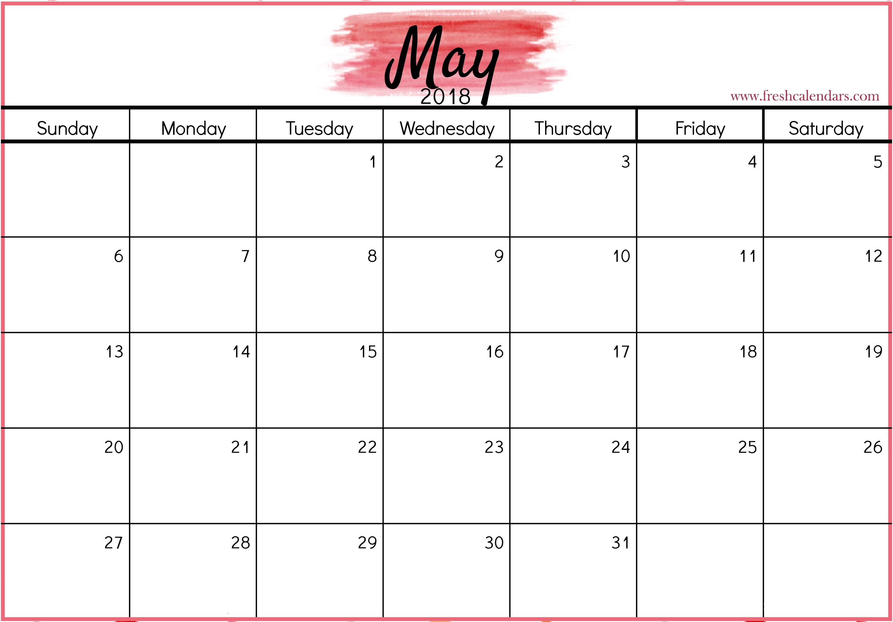 Calendar May 2018 Landscape