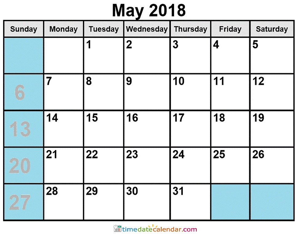 Calendar May 2018 Malaysia with Holidays
