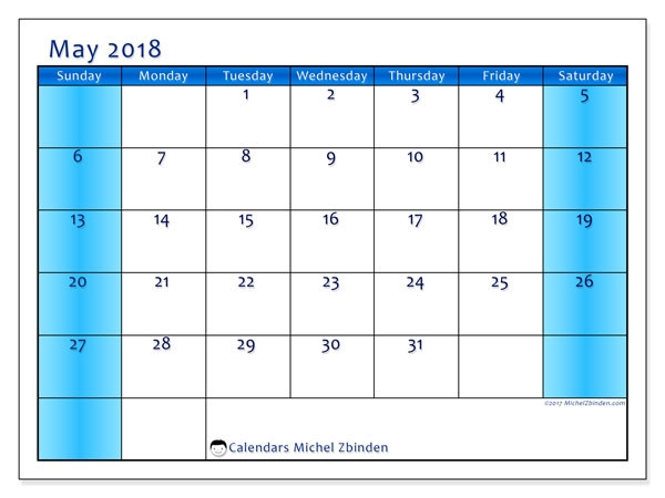 Calendar May 2018 NZ