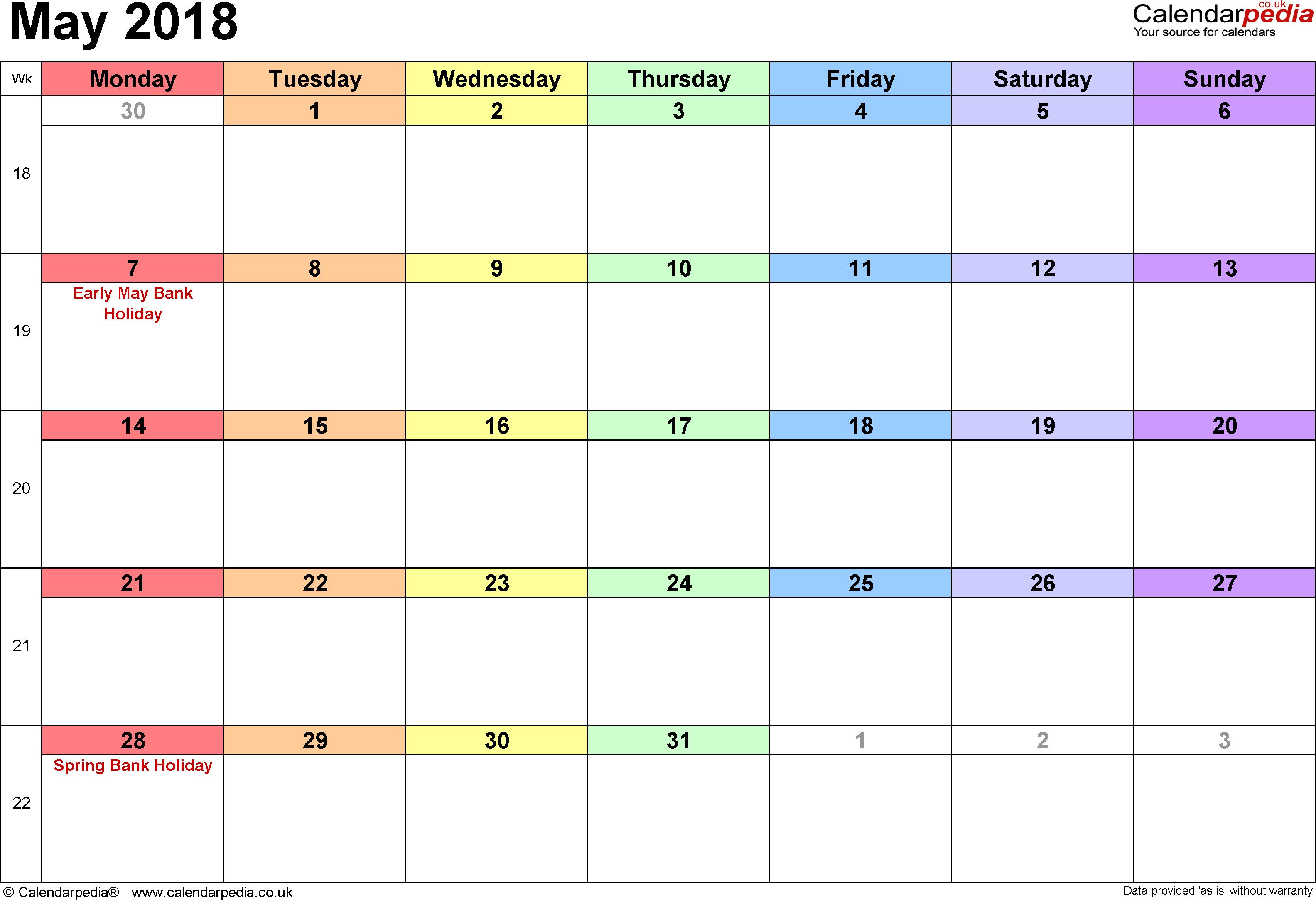 Calendar May 2018 Page