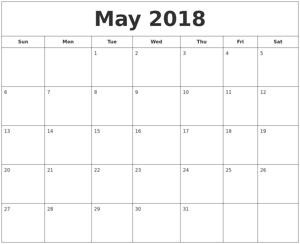 Calendar May 2018 Singapore