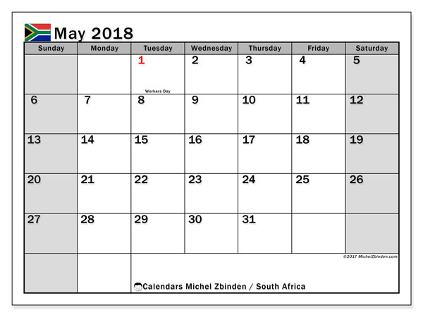Calendar May 2018 South Africa