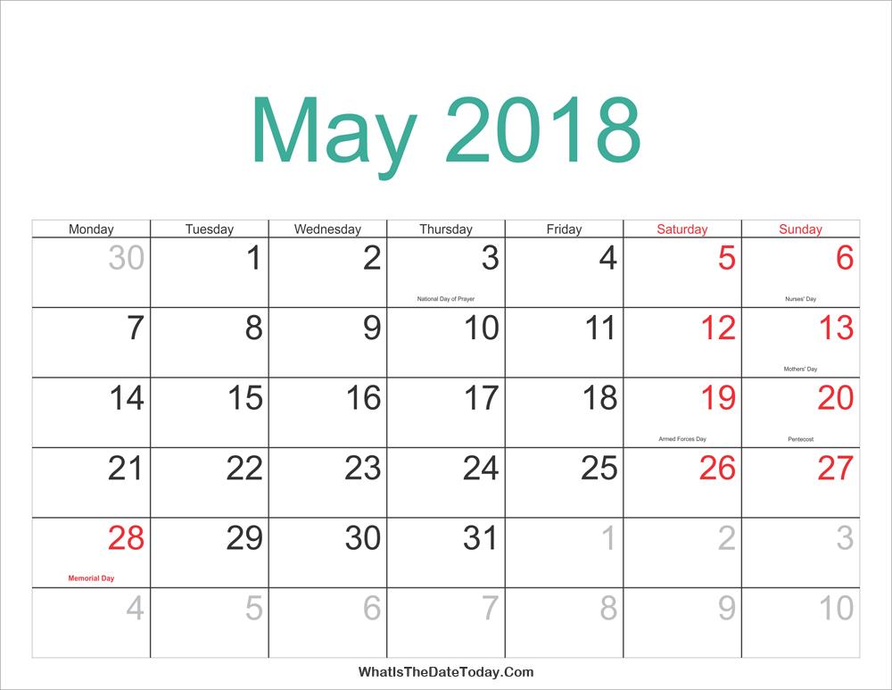 Calendar May 2018 Template PDF