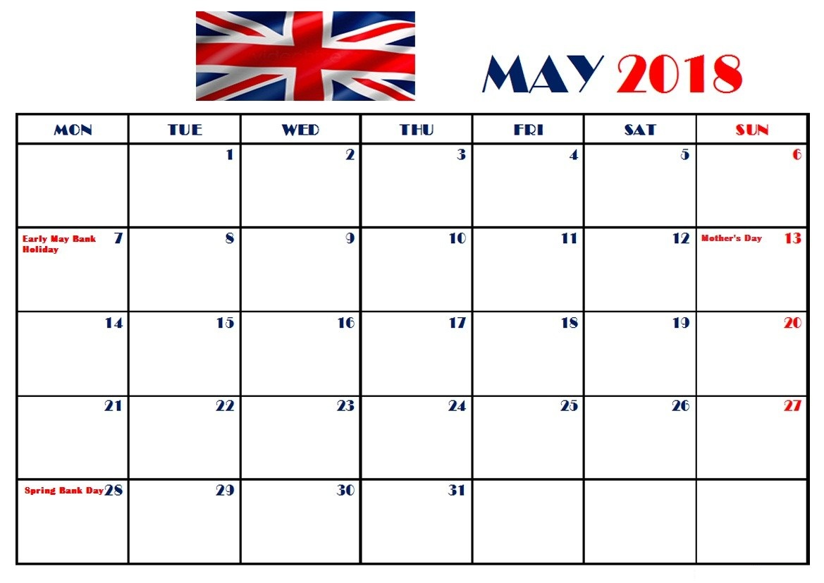 May 2018 Calendar UK