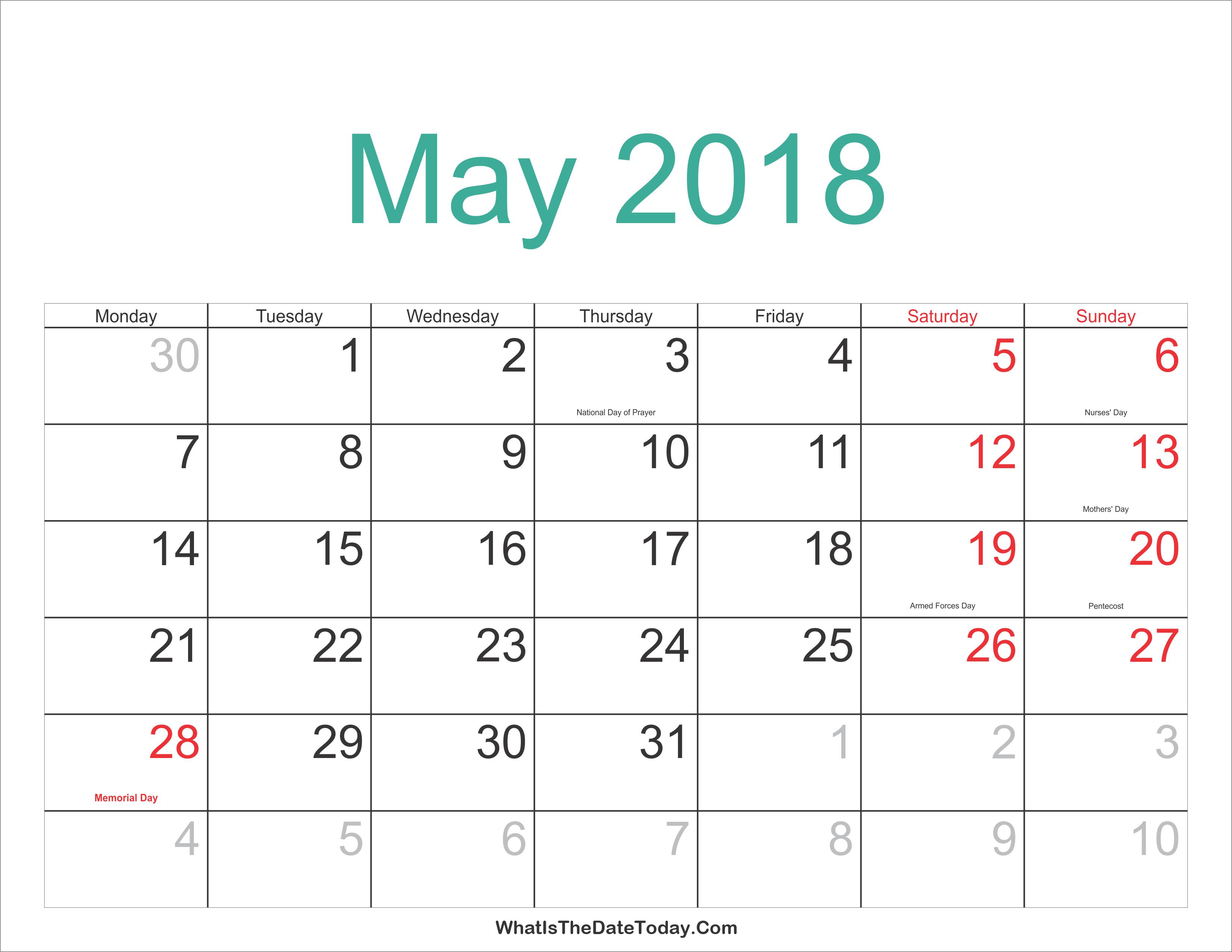 Calendar May 2018 Word